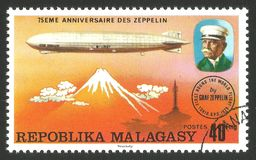 Graf Zeppelin over Japan. Malagasy Republic  Madagascar  - stamp printed 1976, Multicolor memorable Edition offset printing, Topic Aviation, Series 75 years Stock Photos