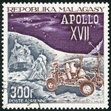 MALAGASY REPUBLIC -  1973: shows Landing Module, Astronauts and Lunar Rover, Apollo 17 moon mission, December 7-19, 1972 Stock Photo