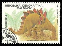 Stegosaurus. Malagasy Republic - stamp 1988, Edition Prehistoric animals, Series Dinosaurs, Stegosaurus Stock Photography