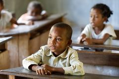 Malagasy school children in classroom, Madagascar stock photo
