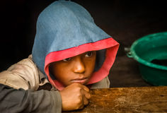 Malagasy teenager. Portrait of a young malagasy teenager looking sad Royalty Free Stock Photo