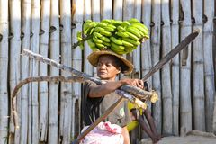 Malagasy woman with bananas. Africa Stock Photos