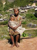 Malagasy woman with her babay Royalty Free Stock Images