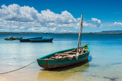 Malagasy wooden sail boat Royalty Free Stock Images
