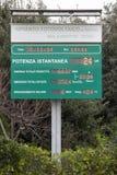 Malagrotta-Müllgrube (Rom, Italien) Zusammenfassendes photo-voltaisches System des Zeichens Stockbild