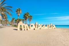 Malagueta海滩在马拉加 安大路西亚,西班牙 库存照片