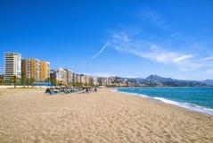 Malagueta海滩在马拉加 免版税库存照片