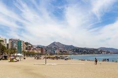 Malagueta Beach in Malaga, Spain stock image