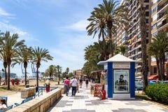 Malagueta Beach Promenade in Malaga, Spain royalty free stock photos