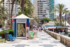 Malagueta Beach Promenade in Malaga, Spain stock photo
