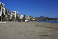 Malagueta- most popular beach in Malaga, Costa del Sol, Spain Stock Images