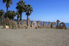 Malagueta- most popular beach in Malaga, Costa del Sol, Spain Royalty Free Stock Photography
