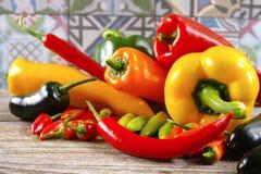 A malagueta picante mexicana salpica o serrano colorido j do poblano da paprika da mistura Fotografia de Stock