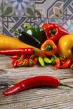 A malagueta picante mexicana salpica o serrano colorido j do poblano da paprika da mistura Fotos de Stock