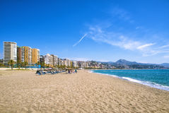 Malagueta plaża w Malaga Zdjęcie Royalty Free