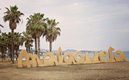 Malagueta plaży znak z palmami Obraz Royalty Free