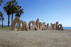 Malagueta- populärast strand i Malaga, Costa del Sol, Spanien Arkivfoto