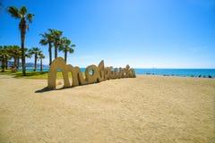 Malagueta strand i Malaga royaltyfria bilder