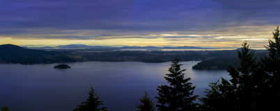 Malahat panorama. A view of the Saanich Inlet and Brentwood Bay, just north of Victoria, British Columbia, Canada. You can see Mount Baker off in the distance Stock Photography