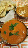 Malai Kofta Curry and Chicken Tikka Masala. Indian food with naan bread Stock Images