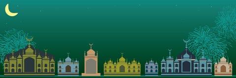 Malajiska ljust islambyggande - grönt baner stock illustrationer