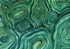 Malakit mineralisk textur för vattenfärg stock illustrationer