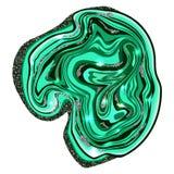 Malakittextur grön sten Tvärsnittet av malakit med silver blänker Fotografering för Bildbyråer