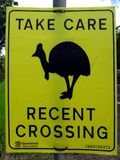 A warning sign to motorist asking for care to be taken due to Cassowaries in th. Malanda, Queensland, Australia-December 15, 2017:  A warning sign to motorist Stock Photography