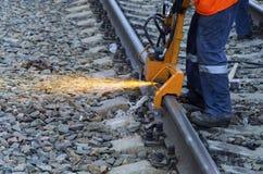Malande järnvägsspår Arkivfoton