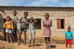 MALANJE/ANGOLA - 10 MAR 2018 - Portrait of African kids in the province of Malanje Angola. Africa stock photography