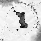 Malapascua Island watercolor island map in black. Royalty Free Stock Images