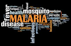 Malaria disease. Malaria - traveller disease in Africa, Asia and Latin America. Tourist health word cloud Royalty Free Stock Images