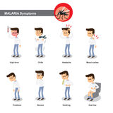 Malaria symptoms. Such as high fever, chills, headache, muscle pain,tiredness, nausea, diarrhea etc vector illustration