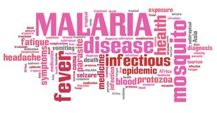 Malaria word cloud. Malaria - travel disease in Africa, Asia and Latin America. Tourism health word cloud Stock Photo