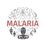 Malarialinie Ikonenfahne Infographics Symptome, Vektorzeichen für Netzgraphiken vektor abbildung