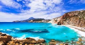 Malarskie plaże Grecja, Firiplaka -, Milos wyspa obraz stock