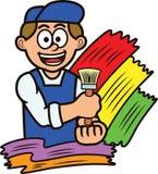 Malarz z farby muśnięcia kreskówką zdjęcie stock