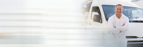 Malarza mężczyzna z samochodem dostawczym z przemiana skutkiem Fotografia Royalty Free