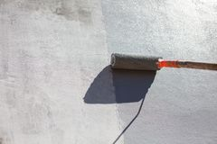 Malarza obrazu ściana Z rolownikiem obraz stock