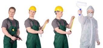 Malarza pracownik budowlany w ochronnym kostiumu i mężczyzna Fotografia Stock