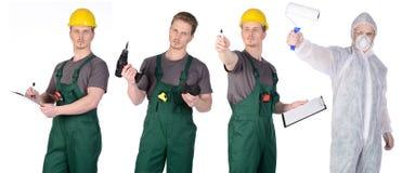Malarza pracownik budowlany w ochronnym kostiumu i mężczyzna Zdjęcie Royalty Free