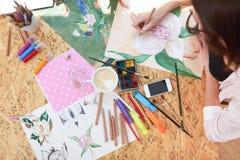 Malarza rysunku obrazek piękny kwiat zdjęcia stock