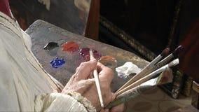 Malarza studio, paleta w zakończeniu zdjęcie wideo