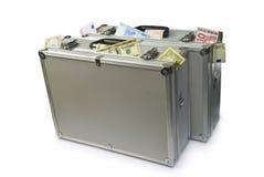 Malas de viagem com dinheiro Fotografia de Stock