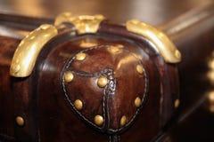 Malas de viagem de couro do vintage Grande e caixa de couro maravilhosa Caixa do curso Malas de viagem de couro do vintage imagens de stock