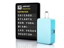 malas de viagem da placa e do curso do aeroporto 3d no fundo branco Fotografia de Stock Royalty Free