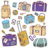 Malas de viagem do vintage ajustadas. Ilustração do vetor do curso. Foto de Stock Royalty Free