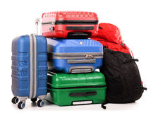 Malas de viagem e mochilas no branco Foto de Stock Royalty Free