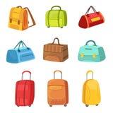 Malas de viagem e outros sacos da bagagem ajustados dos ícones Imagens de Stock