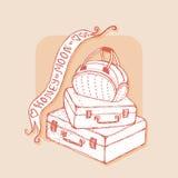 Malas de viagem e saco com fitas honeymoon ilustração royalty free